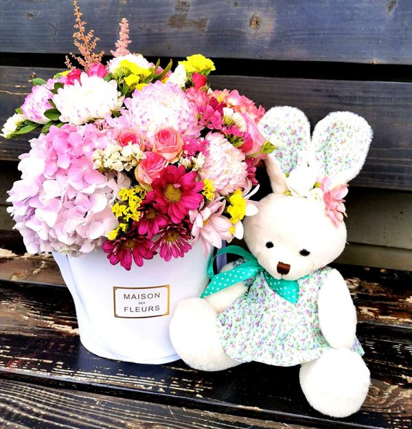 bouquet and toy