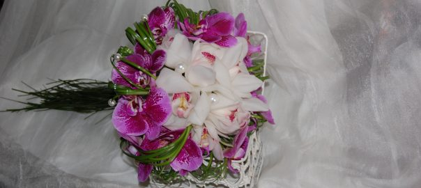 Bouquet of orchids and bergrass